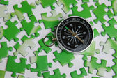 Compass on puzzle — Stock Photo