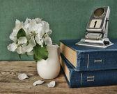 Old calendar and bird cherry branch — Stock Photo