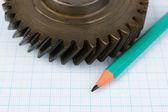 Attrezzi e matita su carta millimetrata — Foto Stock