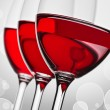 Three glass wih red wine — Stock Photo