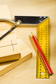 Boards and pencil with ruller saw — Stock Photo