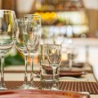 Stock Photo: Wineglasses on table