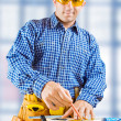 A worker. Fokus on hands - Stock Photo