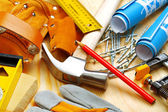 Building tools on wooden boards — Stock Photo