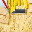 Carpentry tool set on plywood board - Stok fotoğraf
