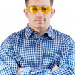 A men in safety glasses — Stock Photo