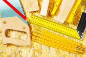 Set of construction tools on plywood — Stok fotoğraf