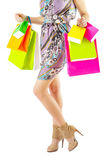 Female holding colored paper bags — Foto Stock