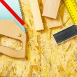 Carpenter tools on plywooden board - Stock Photo