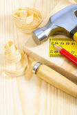 Utensili falegname su tavole — Foto Stock