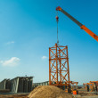 Construction of steel tower — Stock Photo