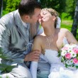 The wedding pair sits on a grass kiss — Stock Photo #2465818
