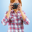 Hipster taking photo — Stock Photo
