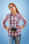 A young hipstergirl with camera — Stock Photo