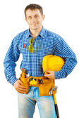 A worker holding helmet isolated — Stock Photo
