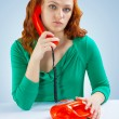 A girl with telephone — Stock Photo