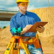 A worker holding clipboard — Stock Photo