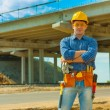 A contractor on building place — Stockfoto