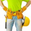 View on belt with tools on worker close up — Stock Photo