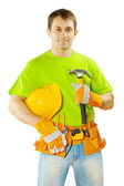 Worker with tools isolated on white background — Stock fotografie