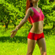 Girl do exercise of youga — Stock Photo