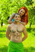 Retrato de um casal de homens e mulheres — Fotografia Stock