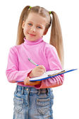 A small girl with clipboard isoalted — Stock Photo