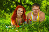 Couple of sports man and girl — Stock Photo