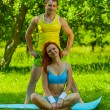 Stock Photo: Sports girl and man on nature