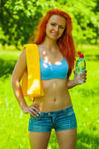 Portrait of beautyful sportsgirl — Stock Photo
