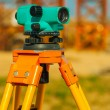 Close up view on old theodolite on construction place — Stock Photo