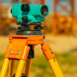 Stock Photo: Close up view on old theodolite on construction place
