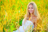 A beautyful blond sitting in the wheat — Stock Photo