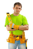 A worker on white background — Stock Photo