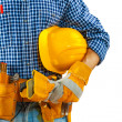Worker holding hardah wery close up — Stock Photo
