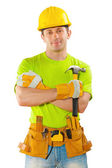 Men in working clothing with tools — Stock Photo