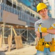 Worker on building place — Stock Photo