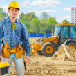 Builder on construction site — Stock Photo