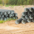 Stock Photo: Two stacks of pipes