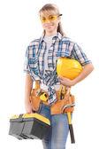 Piękne kobiece pracownika z narzędzia — Zdjęcie stockowe