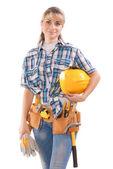 Kobieta pracownika z narzędziami na białym tle — Zdjęcie stockowe