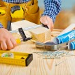 Stock Photo: Fixing of wooden planks