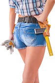 Female worker with tools — Stock Photo