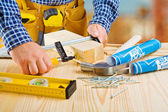 Fixing of wooden planks — Stock Photo