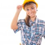 Builder girl isolated on white — Stock Photo #36601769