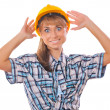 Stock Photo: Female worker with wide open eyes