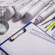 Blueprints and drawing tools — Stock Photo