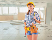Female worker on construction site — Foto Stock