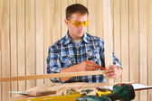 Carpenter is working — Stock Photo