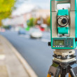 Stock Photo: Theodolite on street of small town